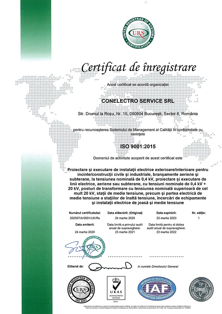 Conelectro Service - certificat ISO 9001